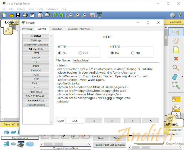 [Tutorial Cisco Packet Tracer 11] Setting Web Server-anditii.web.id