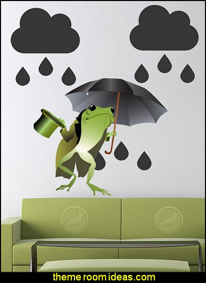 Frog with a Black Umbrella Peel and Stick Wall Decals Rain Clouds Vinyl Decal Sticker