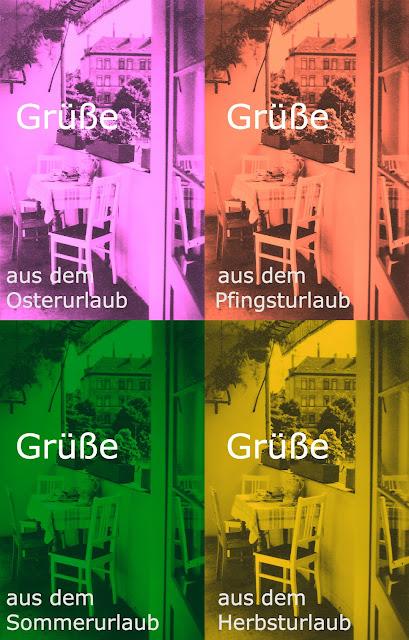 Immer derselbe Balkon: Grüße aus dem Osterurlaub / Pfingsturlaub / Sommerurlaub / Herbsturlaub