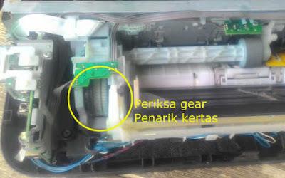 Memeriksa gear penarik kertas cara mengatasi Printer Canon IP2770 Lampu Kuning Berkedip 3x