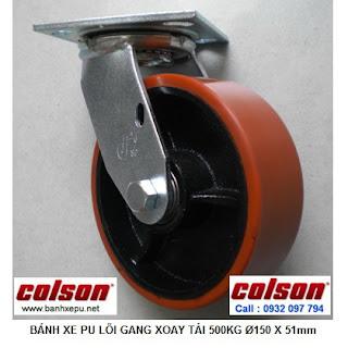 Bánh xe PU đỏ lõi gang thép chịu tải trọng cao 500kg | S4-6209-959 www.banhxepu.net