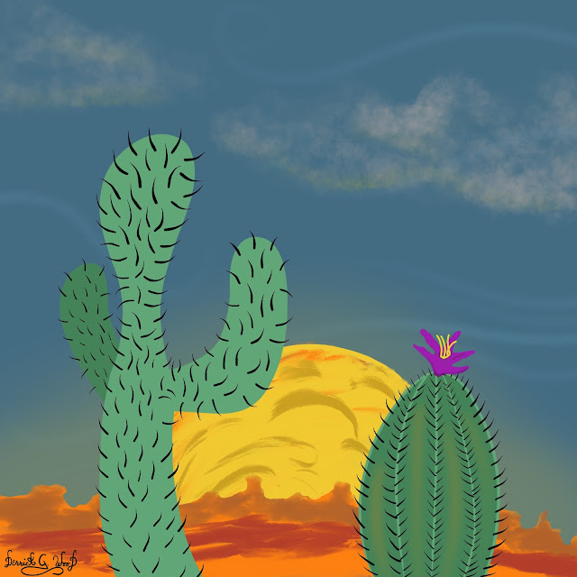 desert landscape art with saguaro and purple flower with sunset or sunrise