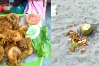 Viral !! Harga makanan di pantai jono, salah pengunjung membuang makanan