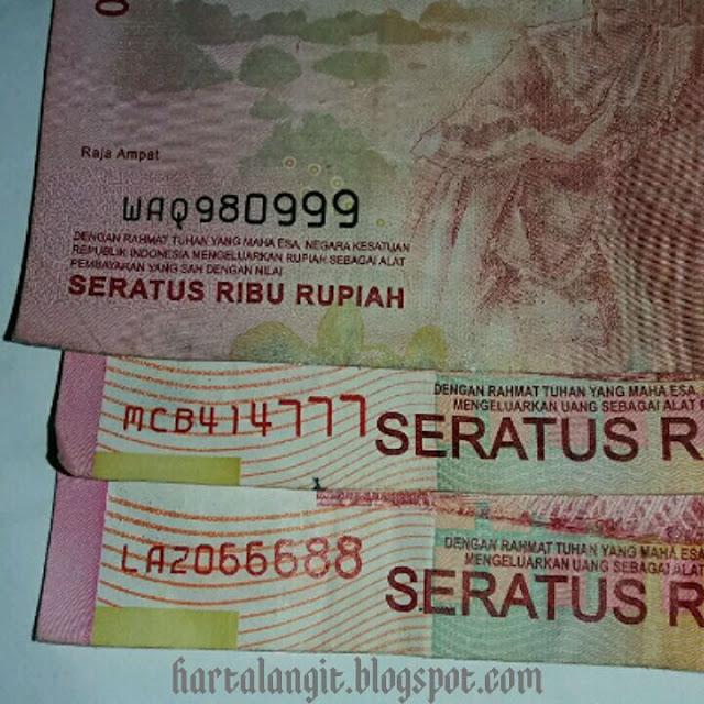 uang rp.100.000 dengan nomor seri kembar