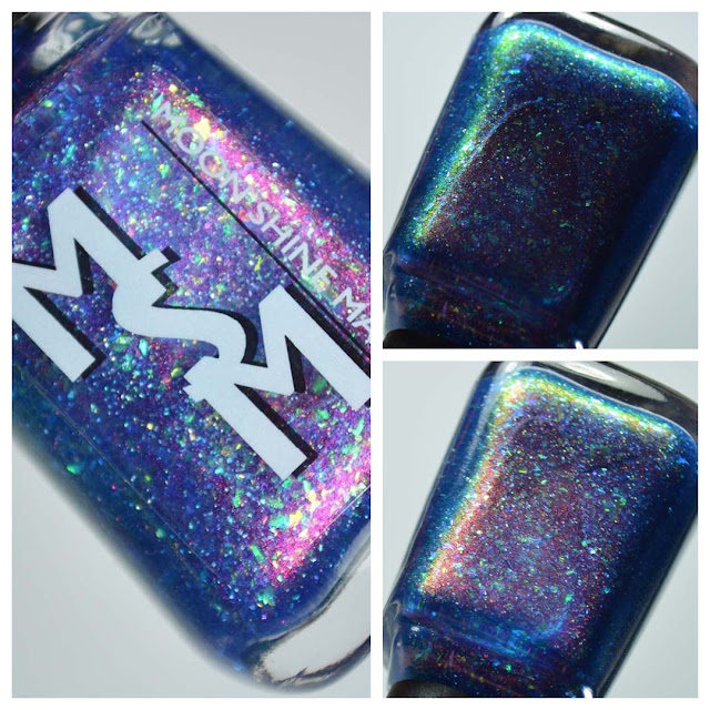 blue shimmer nail polish with flakies in a bottle