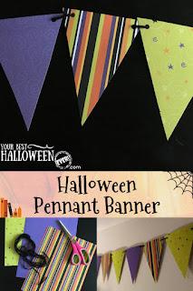 halloween pennant banner, easy halloween diy decorations