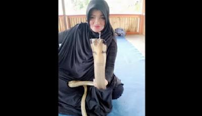 ibu Iin penakluk ular kobra