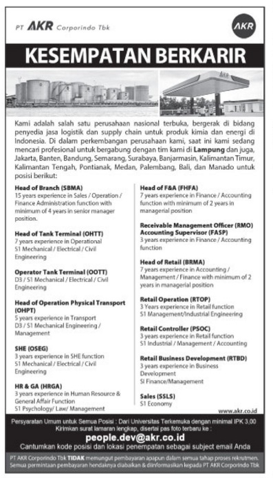 Lowongan Kerja Di Driver Di Pringsewu Lampung Lowongan Pekerjaan Driver Di Provinsi Lampung Trovit Lowongan Kerja Pt Akr Corporindo Tbk Terbaru Bukan Biru