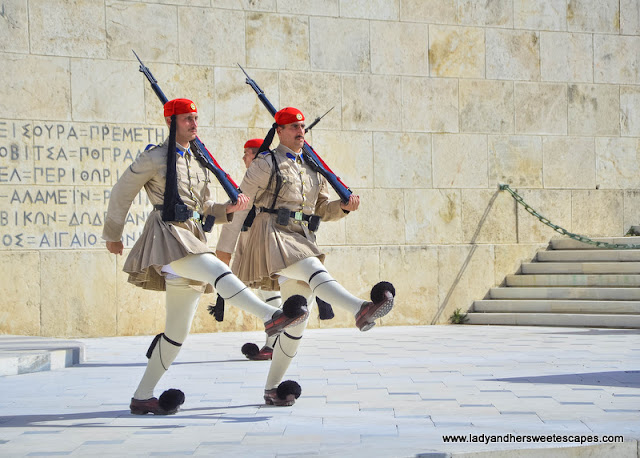 The Evzones or the Greek Presidential Guards on duty
