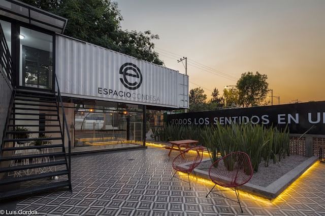 2 Story L-Shaped Shipping Container Office Building, Mexico 2