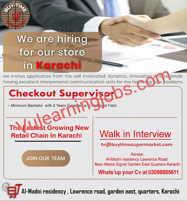 Buy Time Supermarket Jobs 2020 In Pakistan For Checkout Supervisor Latest