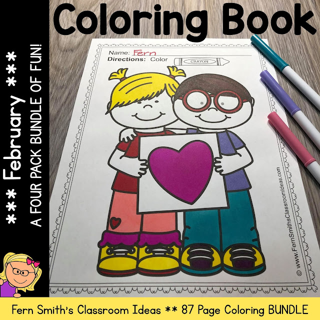February Coloring Pages - A Four Pack Coloring Book Bundle with 87 Pages #FernSmithsClassroomIdeas