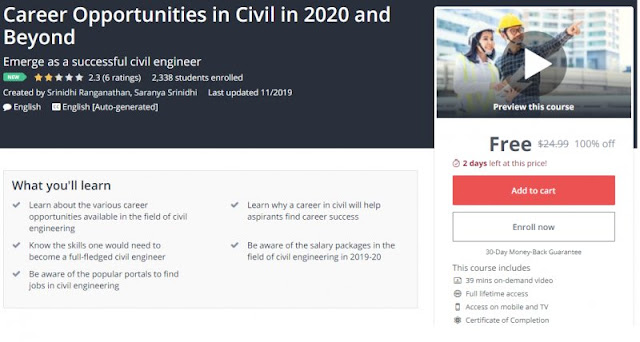 [100% Off] Career Opportunities in Civil in 2020 and Beyond| Worth 24,99$