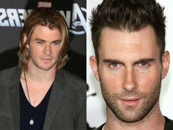bbbe73233 À esquerda, corte Comprido, mas deixando o rosto aparecer e à direita Adam  Levine (Maroon 5) com um corte raspado nas laterais e arrepiado.