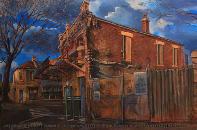Plein air oil painting of the renovation and redevelopment of the Terminus Hotel corner of John and Harris Street Pyrmont painted by industrial heritage artist Jane Bennett