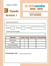 Examen del Bloque I Tercer grado  2018-2019