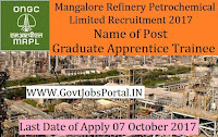 Mangalore Refinery and Petrochemicals Limited Recruitment 2017– 189 Graduate Apprentice Trainee & Technician Apprentice Trainee