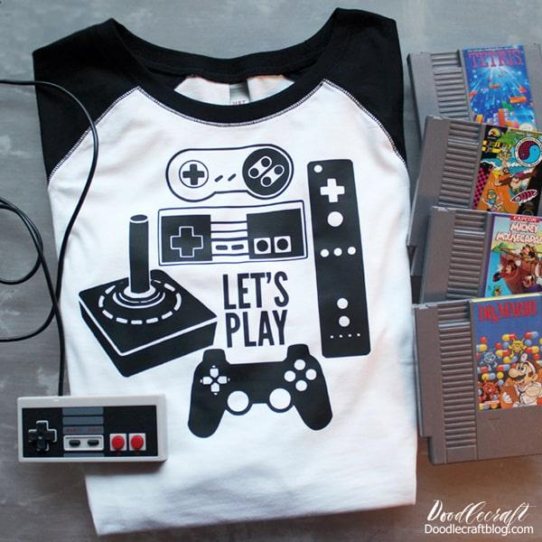 Let's Play Video Game Controller old school Nintendo Iron on vinyl shirt using the Cricut Maker!