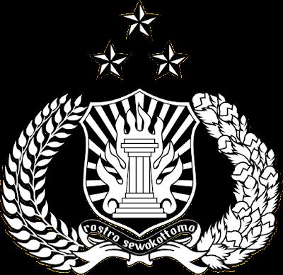 Lambang Tribrata Polri (Polisi Republik Indonesia) hitam putih