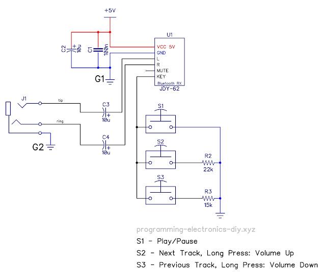 JDY-62 Bluetooth module wiring connections schematic