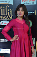 Monal Gajjar in Maroon Gown Stunning Cute Beauty at IIFA Utsavam Awards 2017 034.JPG