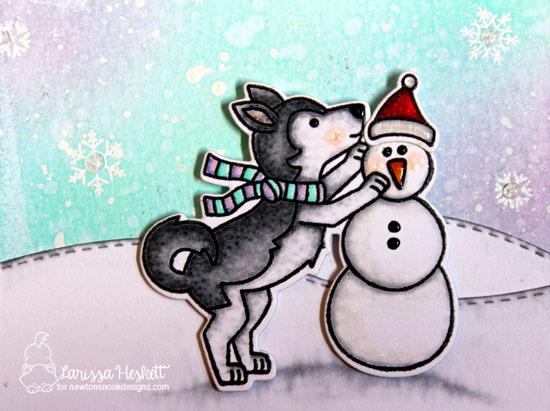 Thanks Snow Much Card by Larissa Heskett   Winter Woofs Stamp Set by Newton's Nook Designs #newtonsnook #handmade