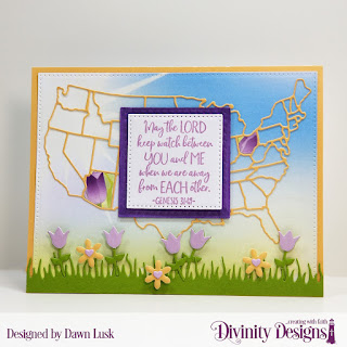 Divinity Designs Stamp Set: America The Beautiful, Custom Dies: USA Map, Pierced Rectangles, Pierced Squares, Double Stitched Squares, Grass Lawn, Flower Box Fillers
