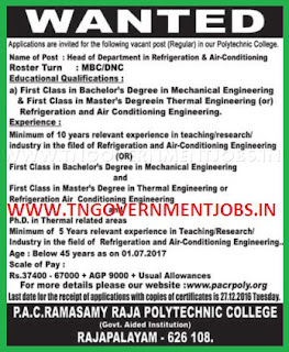 Applications are invited for HoD Post in P.A.C. Ramasamy Raja Polytechnic College Rajapalayam (Aided)