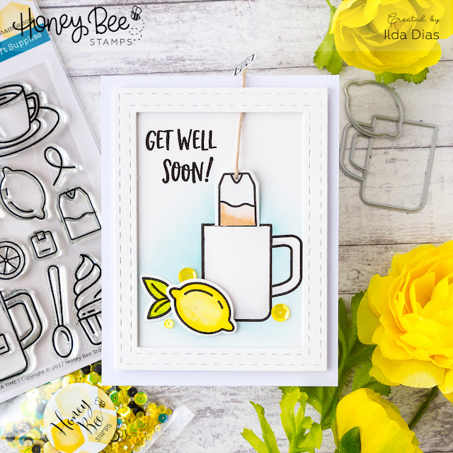 Get Well Soon Surprise Slider Tea Card ft. Honey Bee Stamps by Ilovedoingallthingscrafty