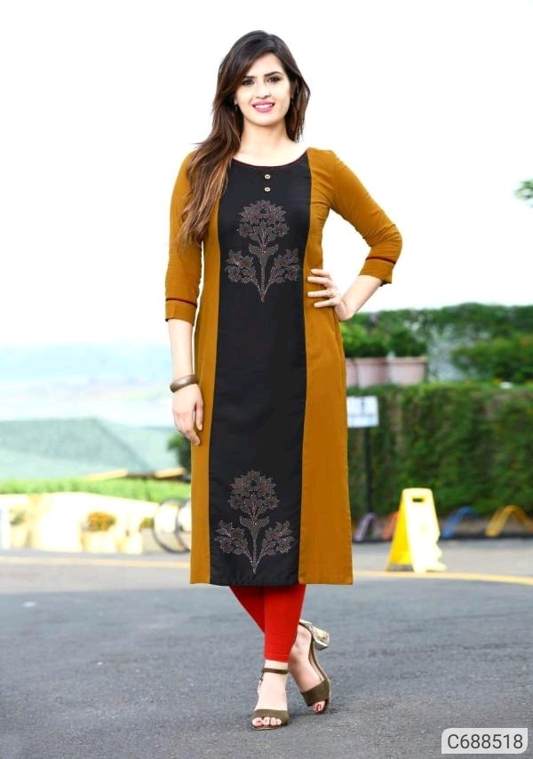 Adorable 14kg Heavy Rayon Printed 3/4th Sleeves Round Neck Straight Kurti