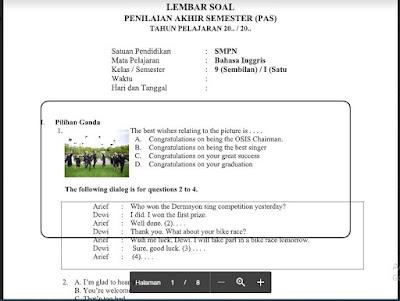 Soal PAS Bahasa Inggris Kelas 9 Kurikulum 2013 SMP/MTs