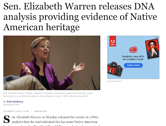 DNA analysis providing evidence of Native American heritage?