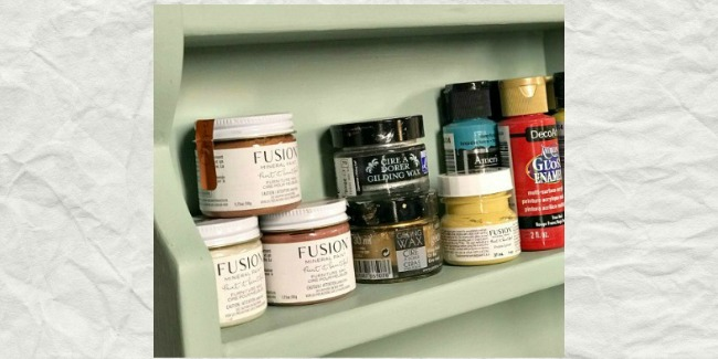 Shelves for holding small craft supplies