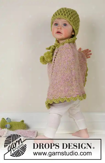Poncho de niña Little Sprout tejido a crochet y dos agujas