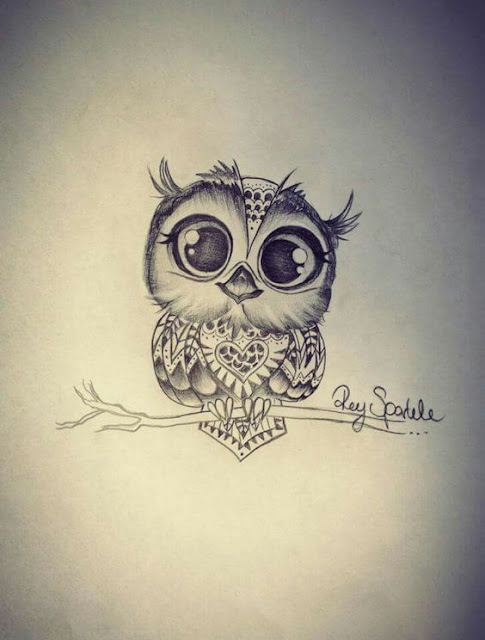 cute and lovely owl tattoo designs