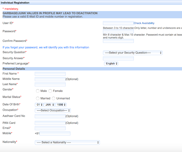irctc registration sign up page