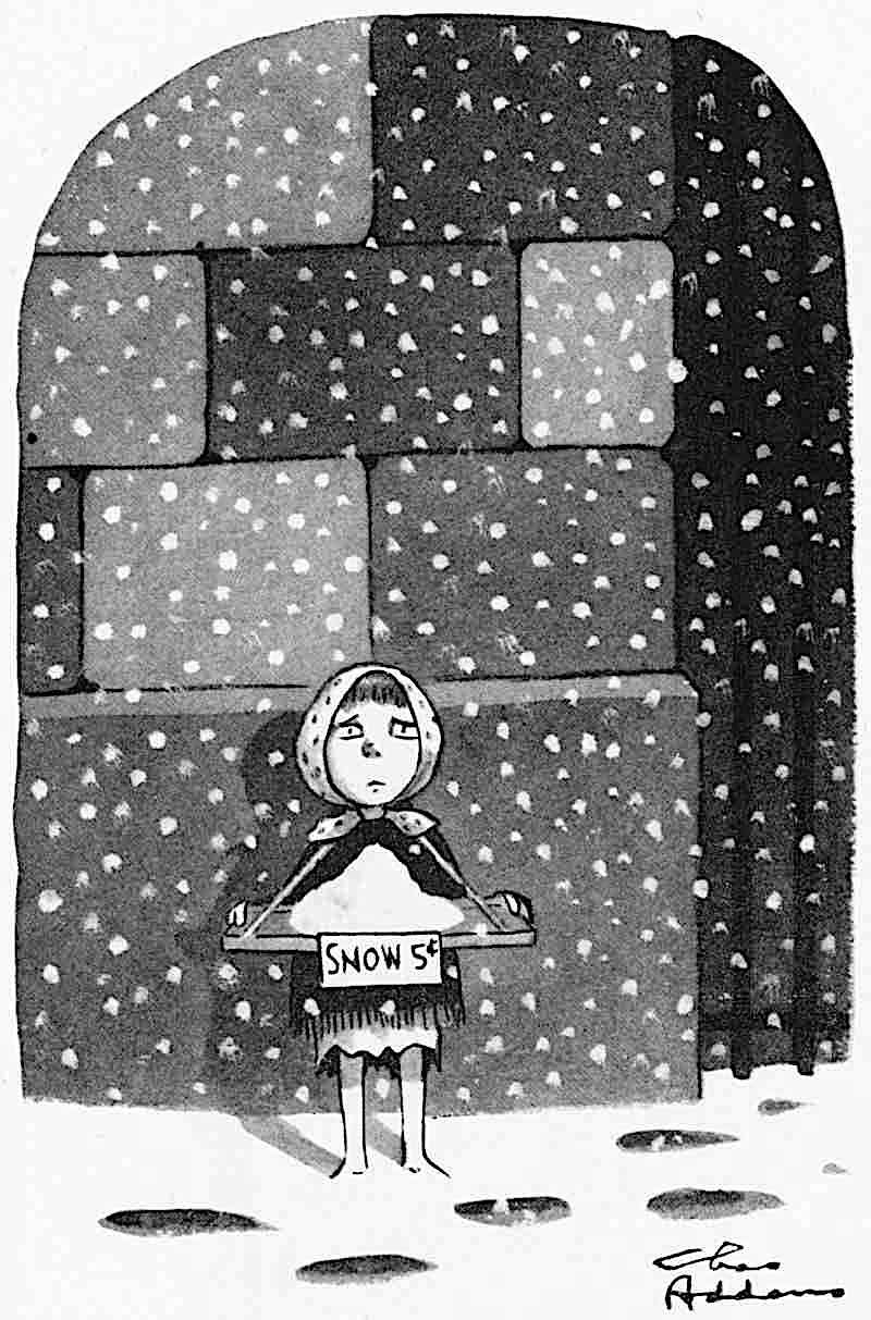 a Charles Addams cartoon of a little poor girl selling snow in a snow storm