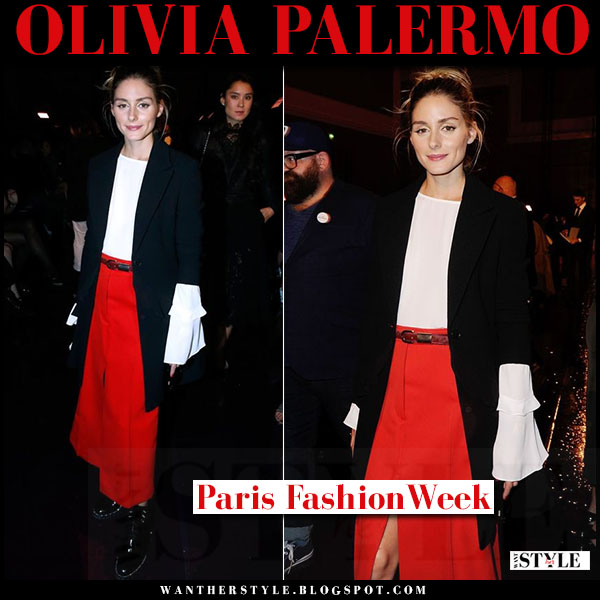 Olivia Palermo in red midi skirt, black blazer and white blouse rebecca minkoff shanaya what she wore paris fashion week nina ricci front row