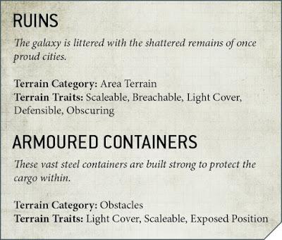 ruinas y contenedores 9a edición 40k