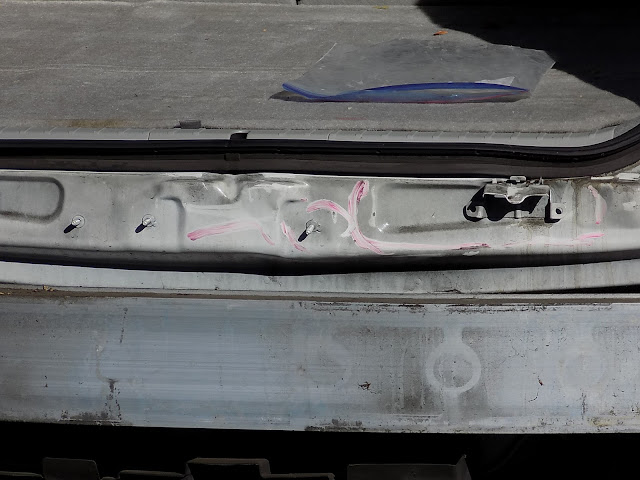 Close up of collision damage before repairs at Almost Everything Auto Body.