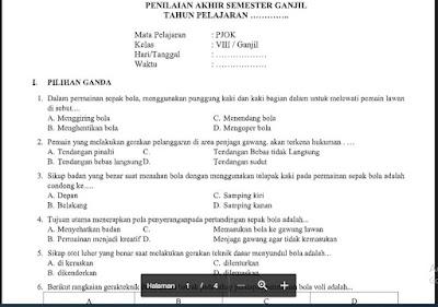 Soal PAS PJOK Kelas 8 K13 (50 PG) Sem.1/Ganjil