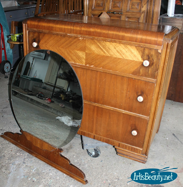 old wood waterfall dresser makeover with round mirror