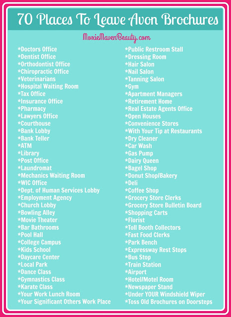 A list of 70 places an Avon Representative could leave Avon brochures to gain more customers.