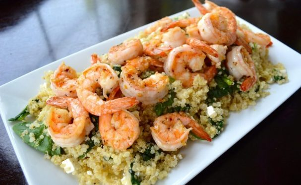 Quinoa and shrimp salad