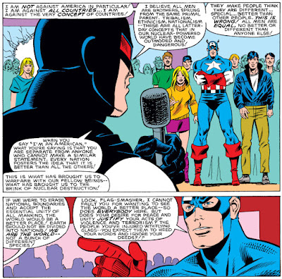 Panels of Flag-Smasher and Captain America having a really wordy debate.