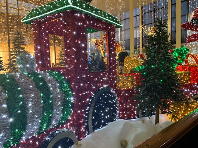 Train made out of lights, as part of a Christmas display