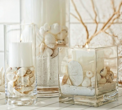Glass Vase Candle Holder Ideas with Fillers Sand Shells