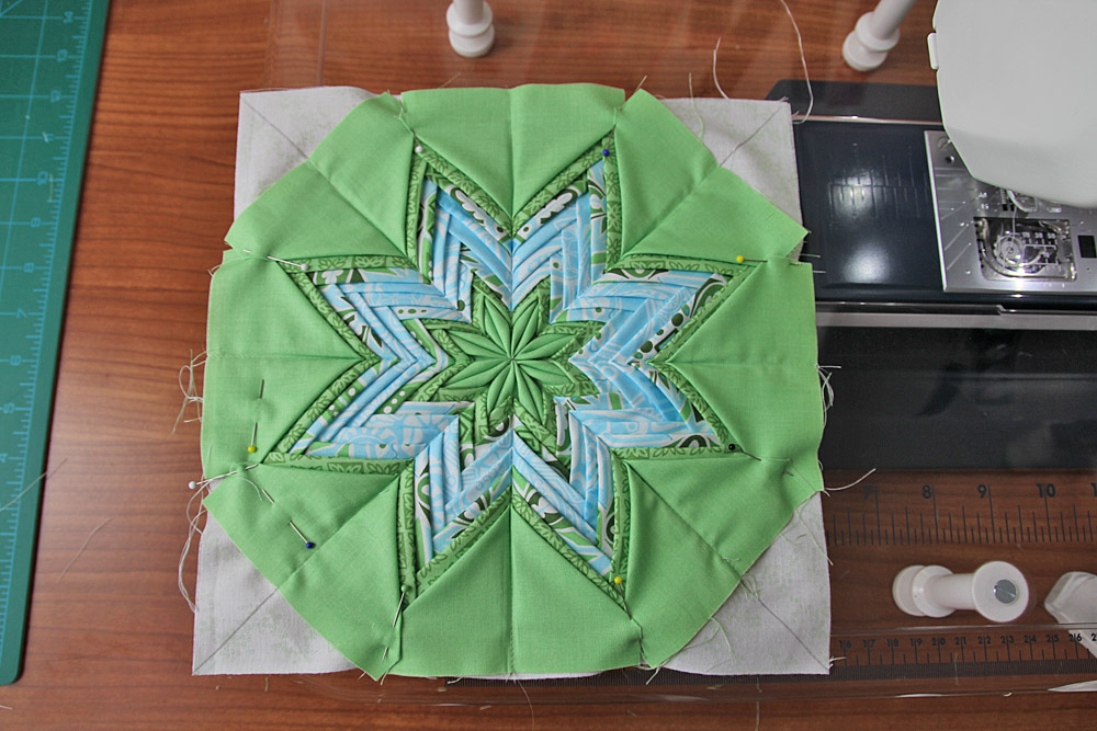 Fancy Folded Star Pot Holder. Patchwork