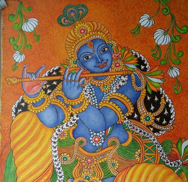 my talent: mural painting- krishna  my talent: mura...