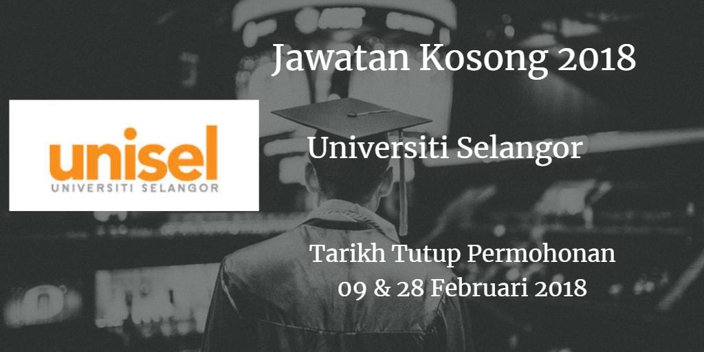 Jawatan Kosong UNISEL 09 & 28 Februari 2018